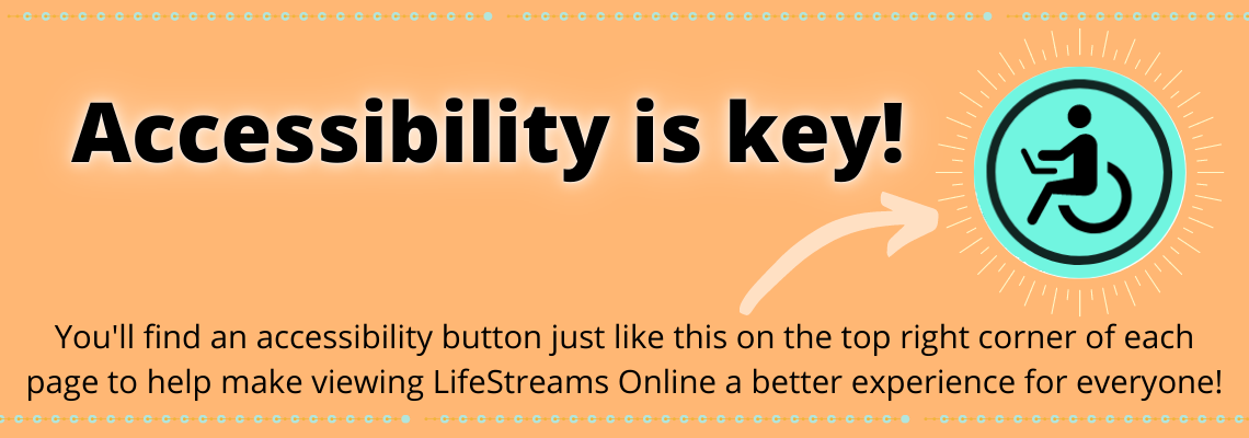 Accessibility is Key! Click on the light blue circle with the disability symbol in the top right corner for accessibility features!