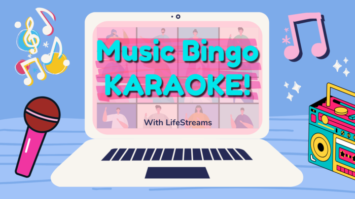 computer video call with music bingo and karaoke